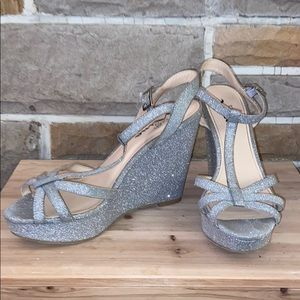 Touch of Nina Glitter Silver Wedge Heels